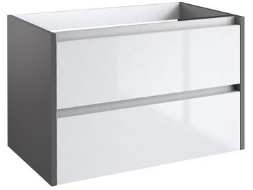 Waschtischunterschrank Kolkata 63, Farbe: Weiß glänzend / Anthrazit glänzend – 50 x 80 x 46 cm (H x B x T)