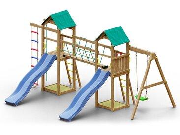 Spielturm K18 inkl. 2 Türme, 2 Wellenrutschen, Einzelschaukel, 2 Sandkästen, Seilbrücke, Strickleiter und Kletterseil FSC®