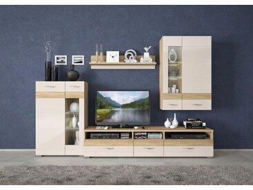 Wohnzimmer Komplett - Set A Mauga, 4-teilig, Farbe: Eiche Braun / Creme Hochglanz