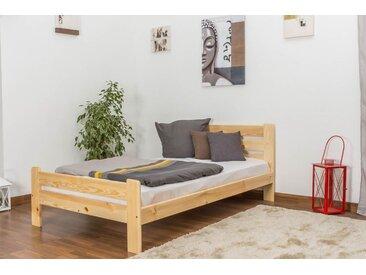 Einzelbett / Gästebett  Kiefer Vollholz massiv natur A23, inkl. Lattenrost - Abmessung 120 x 200 cm