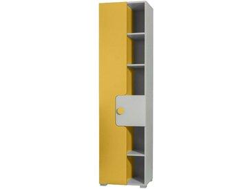 Jugendzimmer - Schrank Harald 04, Türanschlag Links, Farbe: Weiß / Gelb - 193 x 50 x 40 cm (H x B x T)