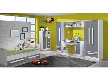 Kinderzimmer Komplett - Set B Walter, 6-teilig, Farbe: Grau Hochglanz / Weiß
