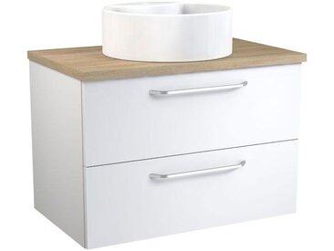 Waschtischunterschrank Barasat 54, Farbe: Weiß glänzend / Eiche – 53 x 75 x 46 cm (H x B x T)