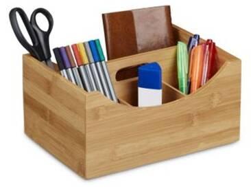 Schreibtisch-Organizer Bambus 4 Fächer mit Griff beige