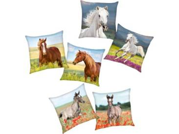 Herding Wende- Kuschelkissen Pferde, 40 x 40 cm mehrfarbig