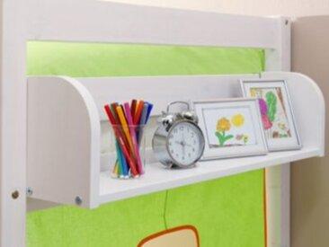 TICAA Einhängeregal Hoch- und Etagenbetten, Kiefer massiv, weiß lackiert, 80 x 22 cm  Kinder