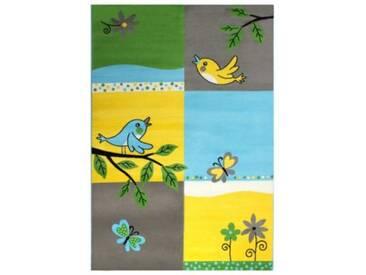 Impression Kinderteppich Bambino Vögel und Blumen, grau, 120 x 170