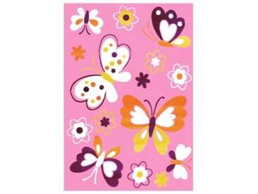 Impression Kinderteppich Bambino Schmetterling, rosa, 120 x 170