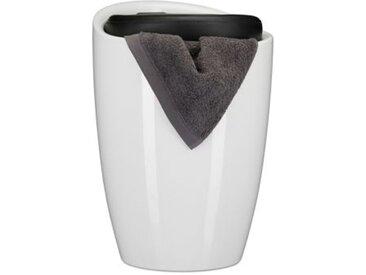 2 in 1 Badhocker mit Wäschekorb schwarz