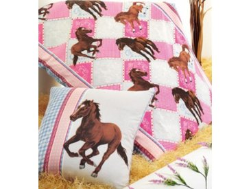 Powerkids Pferdebettwäsche, Kinderbettwäsche Pferde, Cretonne, rosa-blau, 135 x 200 cm