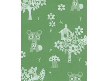 Vliestapete Eijffinger TOUT PETIT, Waldtiere, grün, 10 m x 52 cm