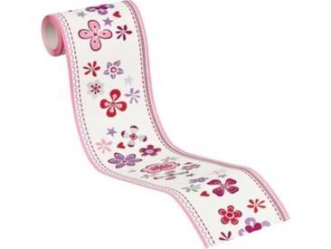 Vliesbordüre Esprit Kids 5, Blumen, pink/lila/weiß, 5 m x 13 cm