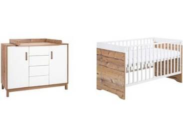 Schardt Sparset Timber, 2-tlg. (Kombi-Kinderbett 70 x 140 cm, Umbauseiten und Wickelkommode), weiß/grau lackiert, Holzdekor Bramberg Fichte