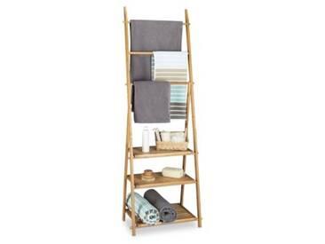 Bambus Bad-Regal mit Handtuchhalter, klappbar beige