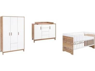 Schardt Komplett Kinderzimmer Timber, 3-tlg.(Kombi-Kinderbett 70 x 140 cm, Umbauseiten, Wickelkommode mit Wickelaufsatz und Kleiderschrank 3-trg.), weiß/grau lackiert, Holzdekor Bramberg Fichte