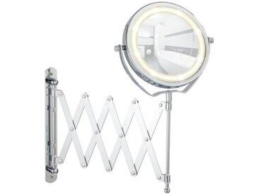 WENKO LED Kosmetikspiegel Brolo Wandspiegel, 3-fach Vergrößerung silber