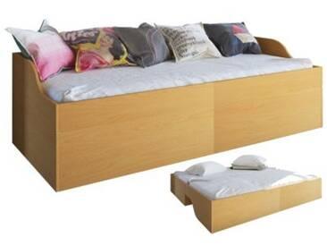 Einzelbett mit Aufklappfunktion 94x204x62 cm hellbraun