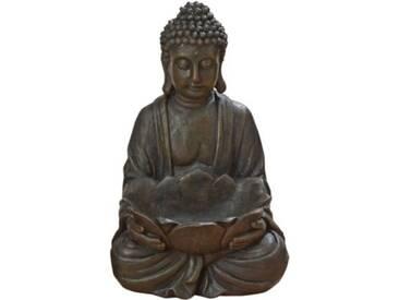 Buddha mit Schale H30 cm braun