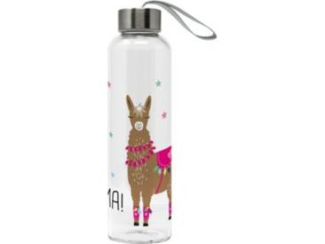 ppd Glas-Trinkflasche No Drama Lama 0,55l mit Trageschlaufe braun/pink