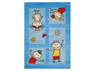 Impression Kinderteppich Bambino Spielende Kinder, türkis, 120 x 170