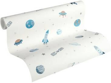 Papiertapete Esprit Kids 5, Weltall, weiß/blau, 10,05 m x 53 cm