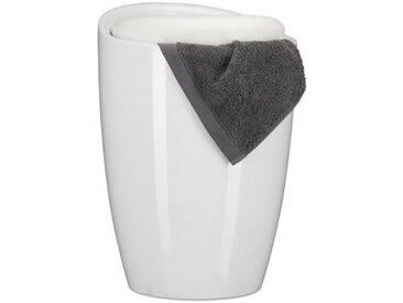2 in 1 Badhocker mit Wäschekorb weiß