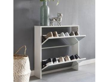 Schuhkipper mit 2 Klappen & Spiegel 63x67x17 cm weiß