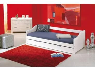 Sofabett mit Schubkasten Kieby, Kiefer massiv, weiß, 90x190 cm