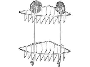 WENKO Vacuum-Loc® Eckregal Bari 2 Etagen, Befestigen ohne bohren silber