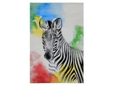 Impression Kinderteppich Bambino Zebra, weiß, 120 x 170