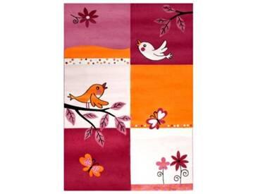 Impression Kinderteppich Bambino Vögel und Blumen, pink, 120 x 170