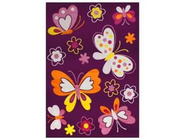 Impression Kinderteppich Bambino Schmetterling, lila, 120 x 170