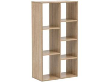 Bücherregal mit 7 Fächern, B60 x T29 x H110 cm natur