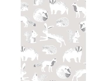 Vliestapete Eijffinger MINI ME, Tiere, grau/silber, 10 m x 52 cm