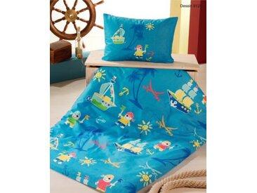 Powerkids Kinderbettwäsche Kleiner Pirat, Cretonne, blau, 100 x 135 cm