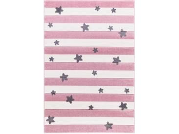 Happy Rugs Kinderteppich, STARS and STRIPES rosa/weiß