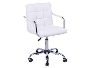HOMCOM Drehstuhl mit geschwungenen Armlehnen Schreibtischstühle silber/weiß
