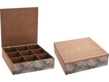 Teebox mit 9 Fächern beige/khaki