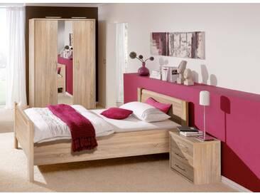 Priess Objekträume Schlafzimmer Set / Bett / Nachtkonsole / Kleiderschrank Sonoma Eiche