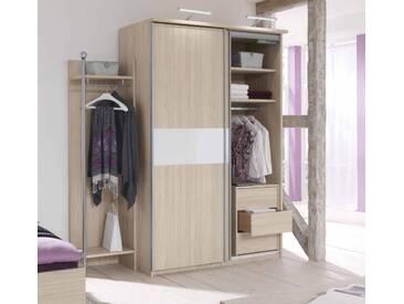 Priess Riva / Pauletta Schwebetürenschrank 6310.4015.01 Sonoma Eiche mit Glasauflage weiß