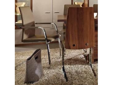 RMW Rietberger Möbelwerke Freischwingerstuhl R1 90606 Leder Hermes Mocca mit Armlehne
