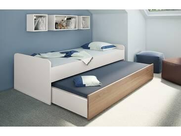 Priess Luna Doppelliege Bett mit Ausziehfunktion 6570.1061 Lichtweiß/Sonoma Eiche 90x200 cm