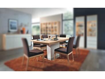 RMW Rietberger Möbelwerke Linaro/Enjoy Säulentisch 90974 Lack weiß/Kernesche 180 x 95 cm