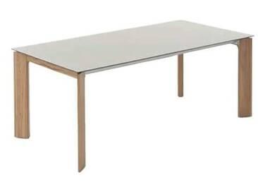 Wöstmann Calleo Esstisch 3240.3 Wildeiche massiv Tischplatte Mattglasoberfläche bianco 160x100 cm