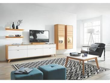 RMW Rietberger Möbelwerke Lotus-Massiv /Deviso-Massiv Wohnwand 68048 Kernbuche / Lack weiß