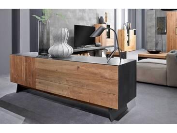 Wöstmann NW 550 Sideboard 1753 europ. Räuchereiche stark gebürstet massiv/Rohstahl schwarz