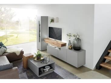 Wöstmann NW 440 Wohnwand 1005 Lack grau mit Bohleneiche