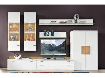 RMW Rietberger Möbelwerke Lavita / Lodano Wohnwand 36011 Lack weiß mit Eiche Sand geschroppt