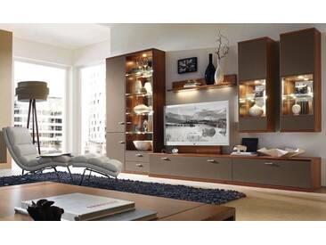 RMW Rietberger Möbelwerke Manhattan/Cremona Wohnwand 21294 Lack terra/Nussbaum nova