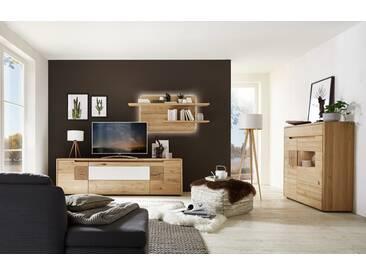 Wöstmann Solento Wohnwand 0001 Wildeiche massiv mit Hirnholz und Mattglas Applikation
